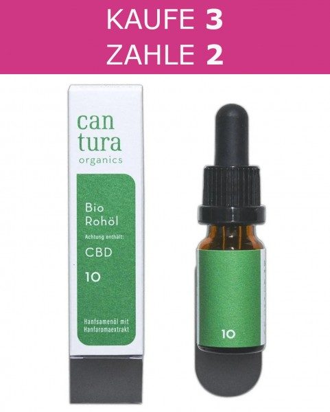 3 X Cantura Organic CBD Oil Raw 10% | 10ml